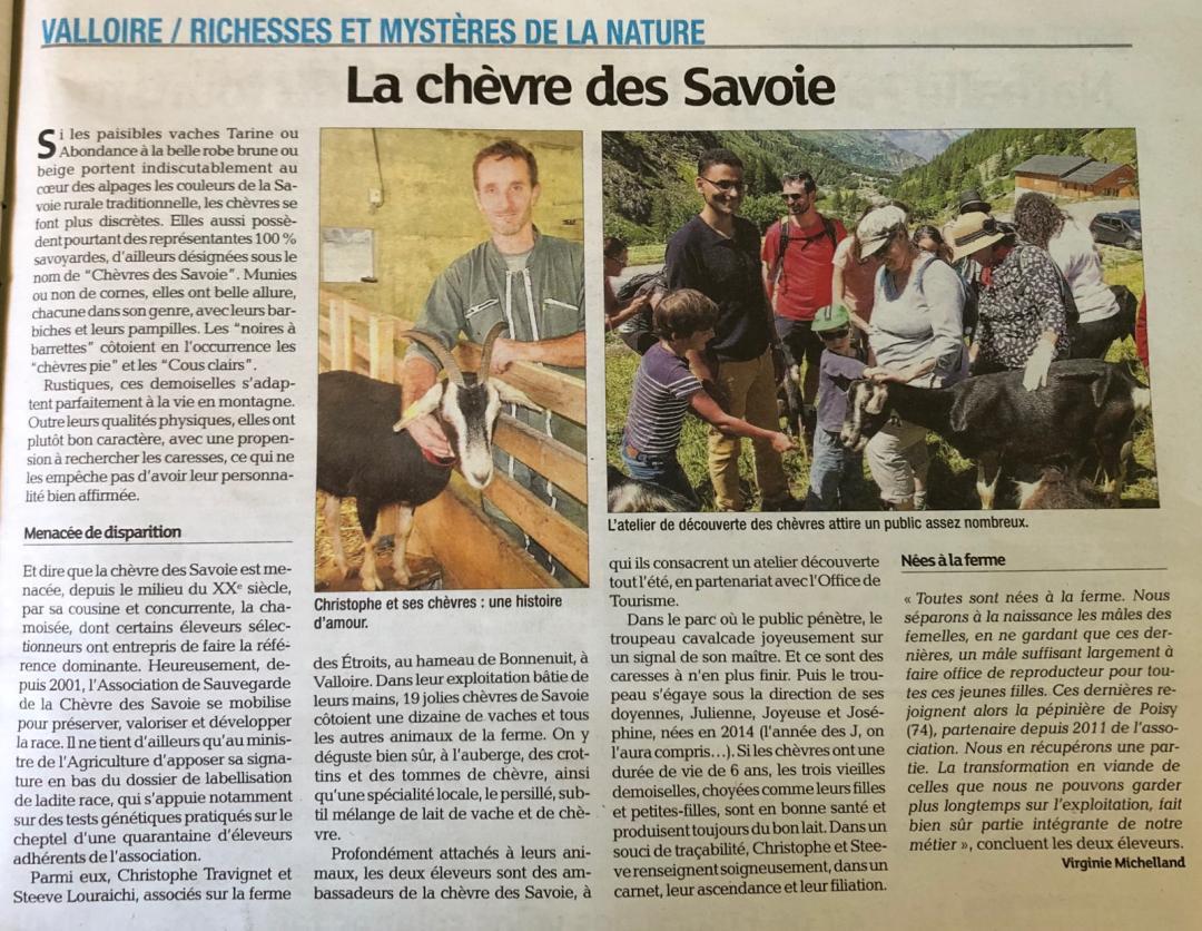 Article dans le journal de la Maurienne